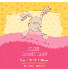 Baby Arrival Card - Sleeping Bunny vector image