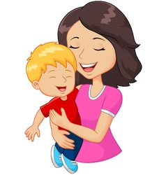 Cartoon happy family mother holding son vector image vector image