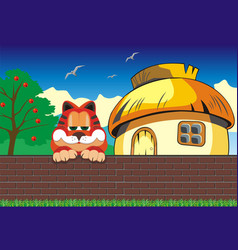 cartoon landscape cat on the fence hut outside vector image