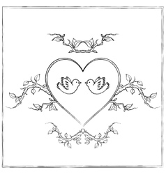 Doves with Heart vector image vector image