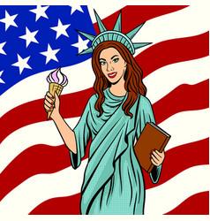 girl in statue of liberty suit pop art vector image