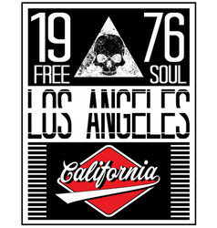 los angeles motorcycle skull typography poster vector image
