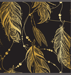 seamless pattern with golden feathers vector image vector image