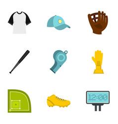 baseball championship icons set flat style vector image vector image