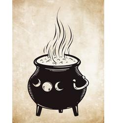 boiling magic cauldron vector image