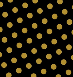 Gold and black polka dots pattern and texture vector