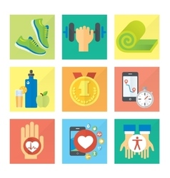 Sport and healthy life concept flat icon set of vector image