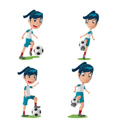 woman soccer player character pose set vector image vector image