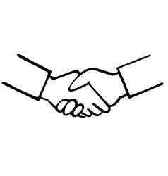 business handshake hand drawing vector image