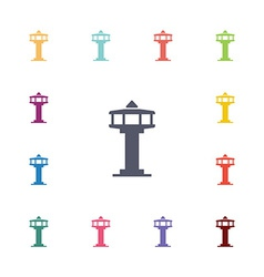 control tower flat icons set vector image