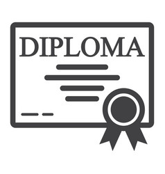 Diploma line icon education and certificate vector