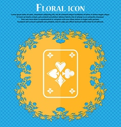 game cards icon Floral flat design on a blue vector image vector image