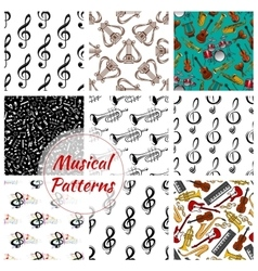 Music musical instruments seamless patterns set vector image vector image