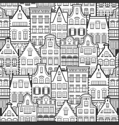 seamless pattern of line style holland old houses vector image