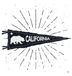 adventure pennant vintage hand drawn flag vector image vector image
