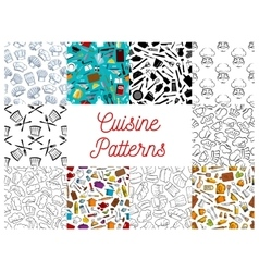 Cuisine kitchen utensils chef hat patterns set vector image vector image