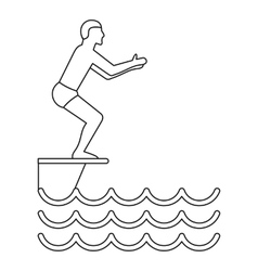 Jumping in a pool icon simple style vector