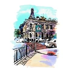 original digital sketch watercolor of Kyiv vector image vector image