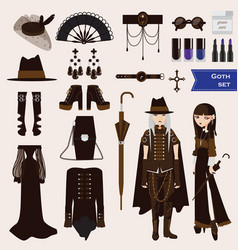 set with dark goth characters of young sad vector image vector image