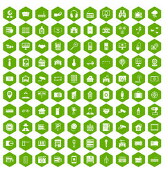 100 camera icons hexagon green vector