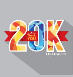 20k followers banner for celebrating followers vector