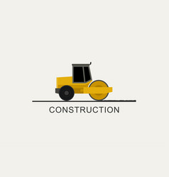 asphalt compactor at work vector image