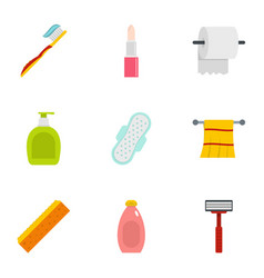 Bathroom accessories icons set flat style vector