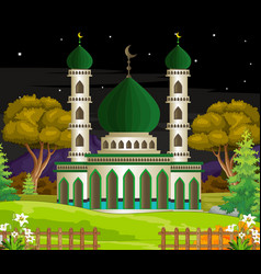 Beautiful islamic mosque cartoon vector