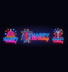 big collectin neon signs for happy birthday neon vector image