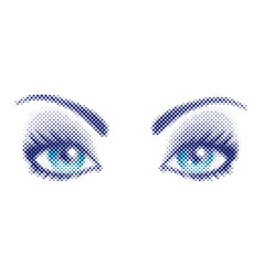 blue eyes in halftone style vector image