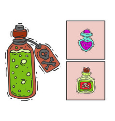 bottle with potion game magic glass cards elixir vector image