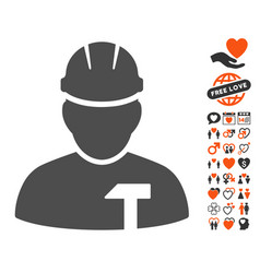 Builder person icon with lovely bonus vector