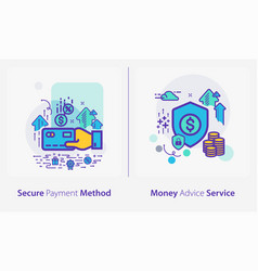 Business and finance concept icons secure payment vector