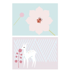 Cards with deer and ladybug vector