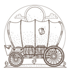 Cartage carriage cowboy outline drawing for vector