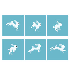cartoon running rabbit animation sprite sheet vector image