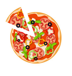 Classic pizza olives basil leaves tomato slices vector