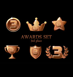 collections awards trophy bronze awards icons set vector image