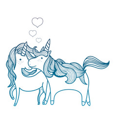 degraded outline beauty unicorn couple together vector image