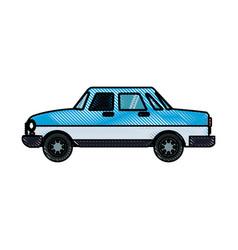 drawing blue car sedan transport design vector image