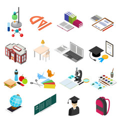education school color icons set isometric view vector image