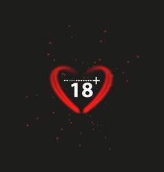 Eighteen plus neon sign on black background vector