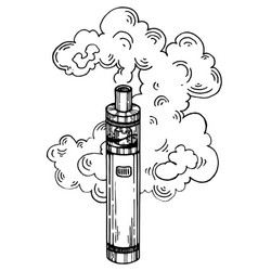 electronic cigarette engraving style vector image vector image