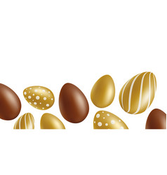 ester banner or border with chocolate and gold egs vector image