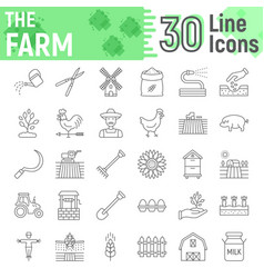 Farm thin line icon set farming symbols vector