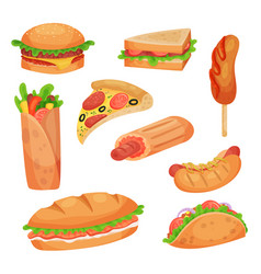 Fast food set on a white vector