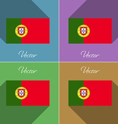 Flags Portugal Set of colors flat design and long vector image