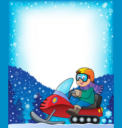 Frame with snowmobile theme 1 vector