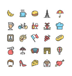 france travel signs color thin line icon set vector image