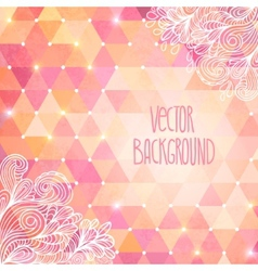Geometric background with doodles and triangles vector image